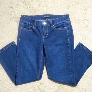 WHBM Slim Crop Rhinestone Studded Jeans